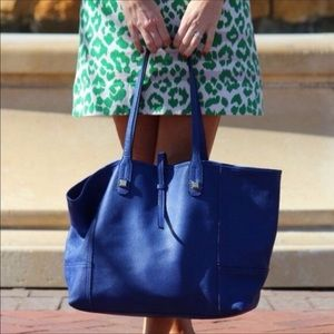 stella and dot cobalt blue Paris leather tote